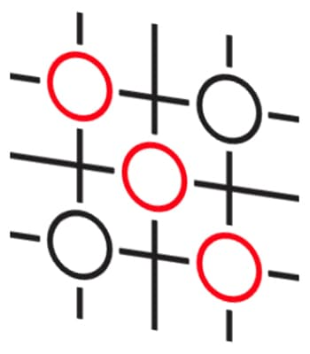 Red and black circles