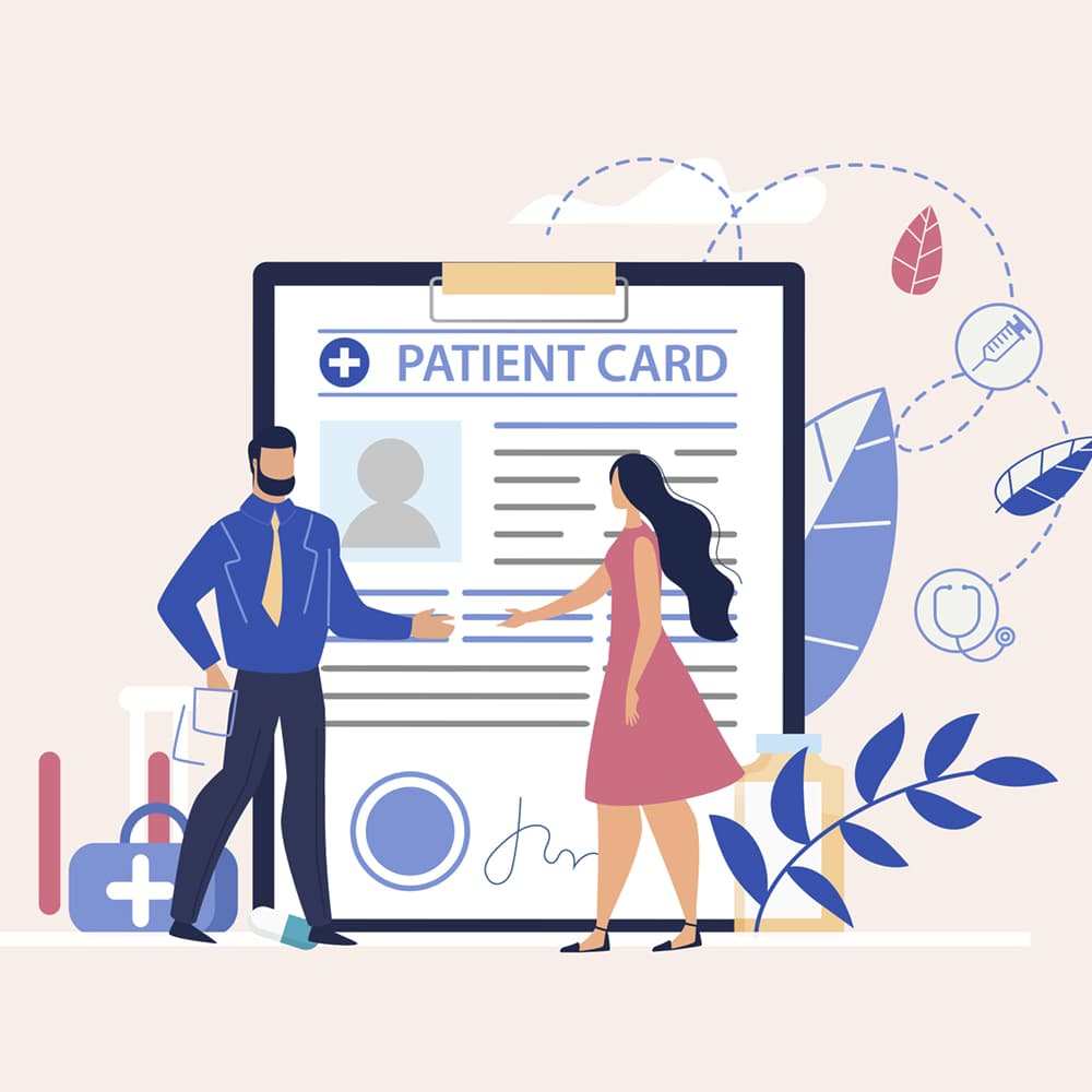 Man and Woman shaking hands near a patient card.