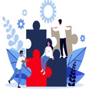 Team assembling a puzzle