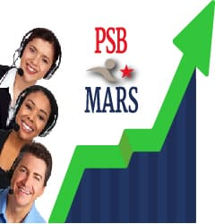 PSB*MARS team standing next to a graph showing increased revenue