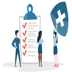 Empoyees checking a checklist