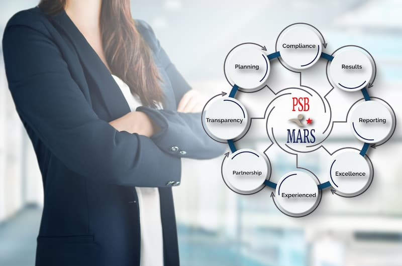 Woman standing beside the PSB*MARS services graphic